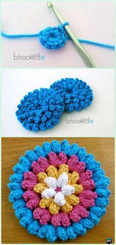 Crochet Popcorn Stitch Flower Free Pattern [Video] - Crochet 3D Flower Motif Free Patterns