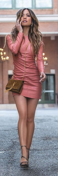 Leather Mini Dress Girly Style