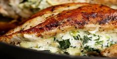 The best spinach stuffed chicken breast recipe - Kitchen - Tips and Crafts Keto Recipes, Cooking Recipes, Tasty Videos, Spinach Artichoke Dip, Spinach Stuffed Chicken, Cordon Bleu, Main Dishes, Chicken Recipes, Pork
