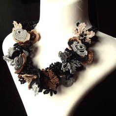 Turkish OYA Lace - Necklace - BIJOU S 01 - Black & Gray by DaisyCappadocia on Etsy