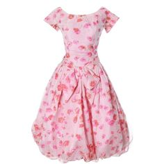 Pre-owned 1950s Suzy Perette Vintage Dress Bubble Hem Pink Floral... ($495) ❤ liked on Polyvore featuring dresses, pink, vintage, 1950s, vintage 50s, vintage cocktail dresses, night out dresses, vintage party dresses, pink cocktail dress and sheer dress