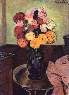 Valadon, Suzanne (1865-1938) - 1920 Flower Vase on a Round Table