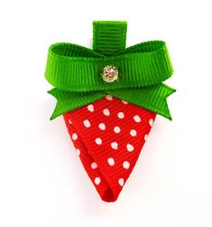 """strawberry hair bow clip party favors--red white and green birthday party favors . via Etsy"" Hair Ribbons, Diy Hair Bows, Diy Bow, Bow Hair Clips, Bow Clip, Ribbon Art, Ribbon Crafts, Ribbon Bows, Grosgrain Ribbon"