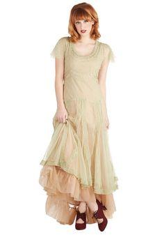 Fairy Important Date Dress in Sage - Sheer, Long, Green, Tan / Cream, Embroidery, Ruffles, Vintage Inspired, Pastel, Scoop, Cap Sleeves, Var...