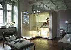 This is relaxing after a long day! Contemporary design shower and sauna unit. Duravit Inipi Sauna from C.