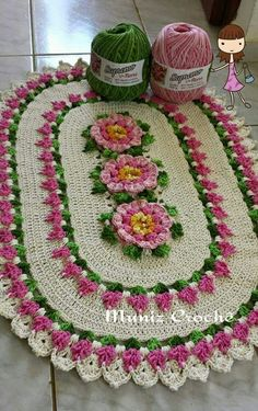 Crochet Oval Rug: Creative Templates and Graphics : Crochet oval rug with. Crochet Oval Rug: Creative Templates and Graphics : Crochet oval rug with light pink flowers Loom Knitting Blanket, Loom Blanket, Crochet Blanket Border, Knitted Blankets, Square Blanket, Loom Knitting Projects, Loom Knitting Patterns, Knitting Ideas, Crochet Stitches For Beginners
