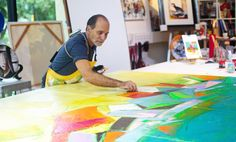 Meditation Series - Flash Dance (Triptych), original on canvas preparation. International Artist, Contemporary Landscape, Triptych, Meditation, David, Fine Art, Abstract, Canvas, Gallery