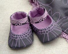 Purple Grey Baby shoes  Mary Jane Custom by LittleKatysFactory, $24.00