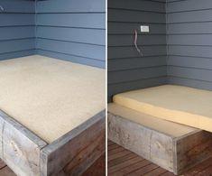 Cómo hacer una cama para tu jardín - colchón Mattress, Patio, Bench, Storage, Handmade, Furniture, Home Decor, Bed Making, How To Make
