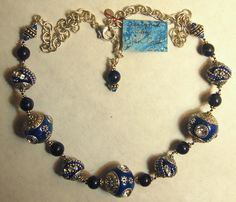 Hand knotted semi precious Lapis Chinese Art by jancashdesigns1