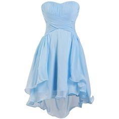 Ellames Women's Sweetheart Short Bridesmaid Chiffon Homecoming Prom... ($46) ❤ liked on Polyvore featuring dresses, short dresses, short chiffon dress, homecoming dresses, blue cocktail dress and blue bridesmaid dresses