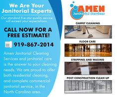Worry free janitorial cleaning is what we do best at Amen Janitorial & Cleaning Services. Contact us today at 919-641-3384, schedule a service appointment, and give us a try. Website: www.amenjanitorial.com  #cleaning #clean #durham #janitorial