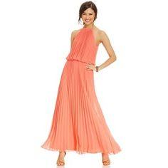 Msk pleated halter maxi dress
