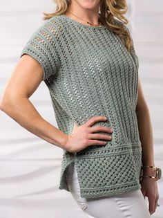 Knitting Pattern for Island Winds Tee - Openwork top with textured panels at hem. Designed by Sandi Prosser. To fit size: S (M, L, XL, 2XL)