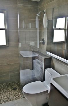 curbless shower in a small bathroom
