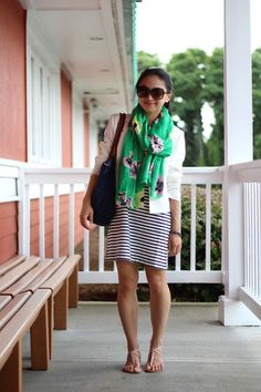 Make an outfit pop with a great splash of color.  Love this combo of a bright #Emerald scarf with a neutral jacket & dress!
