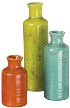 """Sullivans 5-10"""" Set of 3 Decorative Crackled Vases in Orange, Green, and Blue"""