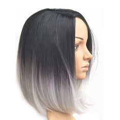short bob haircut, black to grey ombre