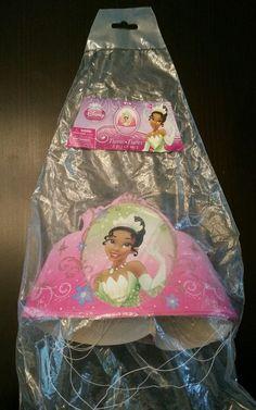 New Disney Princess & the Frog Tiana 8 Party Hats Tiaras Birthday #Disney #Tiana #BlackPrincess #Beautiful #BirthdayParty #Decorations #PrincessAndTheFrog