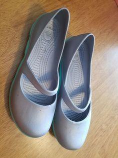 bd169c4fec CROCS Women s Mary Jane Aqua Silver Shoes Comfortable Lightweight Slip on  Size 8  fashion