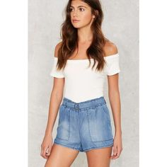 Play It Up Chambray Shorts ($13) ❤ liked on Polyvore featuring shorts, blue, elastic waistband shorts, stretch waist shorts, elastic waist shorts, pocket shorts and blue shorts