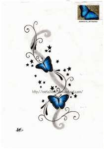 Butterfly tattoo, add one more butterfly and tweak it a bit and this might look good for my text tattoo for my grandma and pappy!