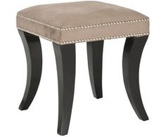 Brimming with designer details, this fabulous Diva ottoman from Safavieh features whimsical animal horn-shaped birch wood legs that are finished in espresso for a stunning contrast with a taupe linen upholstery, artfully studded with nailheads. Taupe, Beige, Textiles, Tufted Ottoman, Fabric Ottoman, Online Shopping Stores, Diva, Brown, Furniture