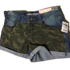 Camo Denim Spike Shorts New with tags. Boom Boom Jeans Shorts Jean Shorts
