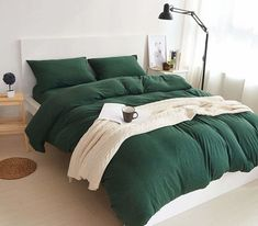 Jersey Knit Cotton Duvet Cover Set Full Comforter Cover and Pillow Shams Ultra Soft Comfy Dark Green Solid Pattern Bedding Set Queen Size Green Duvet Covers, Best Duvet Covers, Full Duvet Cover, Comforter Cover, Duvet Cover Sets, Green Comforter, Grey Duvet, Dark Bedding, Emerald Green Bedrooms