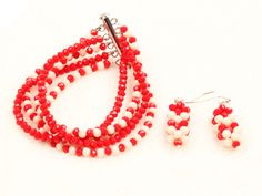 Fantastic Statement 10 Layers Red & White Crystal African Wedding Jewelry Bracelet & Earrings