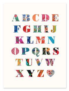 Alphabet Patchwork Print - Vintage Fabrics - Nursery / Children's Art from Ruka-Ruka Alphabet Quilt, Alphabet Nursery, Alphabet Art, Nursery Art, Nursery Ideas, Modern Nursery Decor, Color Card, Vintage Fabrics, Quilts
