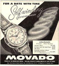 1951 Movoda Calendar Calendomatic Watch Great Vintage print ad. #movado #calendar #calendomatic #vintage #watch #ads #stawc #watches