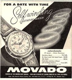 1951 Movoda Calendar Calendomatic Watch Great Vintage print ad. #movado #calendar #calendomatic #vintage #watch #ads #stawc #watches