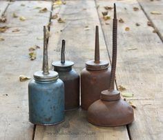 Old Rusty Oil Cans  Eagle Oil Cans  Vintage Farm by NakedBones