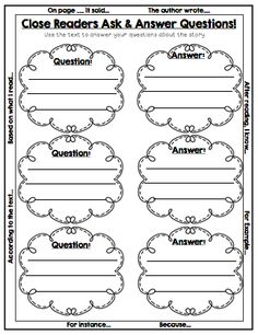 Close Reading (Sample Page) Asking & Answering Questions using the text. Graphic Organizer