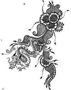 tattoo sketch mehndi henna style by HennaLounge, via Flickr    Here you go Elisa it has a dragon.