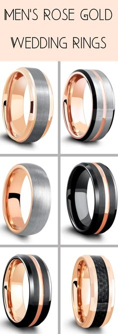 A vast collection of mens rose gold wedding rings. Most of these mens wedding rings are crafted out of tungsten carbide making them super durable and super comfy. Pick from black rose gold rings and silver rose gold rings. Mens rose gold wedding rings have become huge in popularity. Mens wedding rings! #mensweddingrings #mensweddingbands