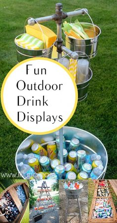 Fun Outdoor Drink Displays. Summer, summer hacks, pool hacks, pool party ideas, Fourth of July, summer holiday