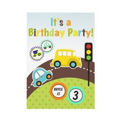 Custom Transportation Birthday Party Invitation by kids_birthdays #transportation #birthday #invitations