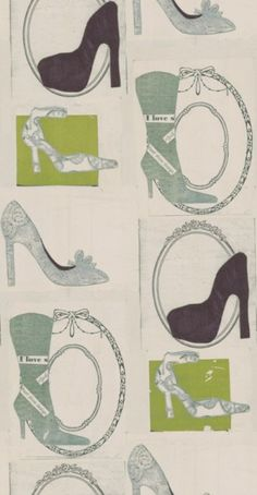 A collage montage design featuring various high heeled shoes. Various colours and patterns including green, pale blue and mulberry on a neutral background. Please request a sample for a true colour match. Pattern repeat is Paste-the-wall product. True Colors, Colours, Blue Green, Yellow, Decoupage, Colour Match, Dressing Room, Heels, Repeat