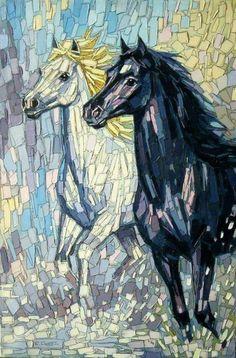 40 Most Intelligent Mosaic Art Works and Practices - Bored Art Mosaic Art Projects, Mosaic Crafts, Mosaic Glass, Glass Art, Stained Glass, Sea Glass, Horse Quilt, Mosaic Artwork, Mosaic Mirrors
