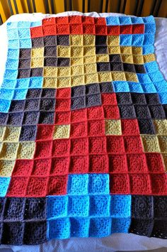 Mario Bros for NES quilt   This would be such a cute idea! Knit the squares and sew them together! A lot of seaming though. Would be fun for teaching children to knit. Make a big project with some teamwork!