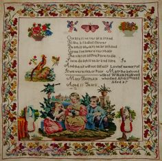 A 19th Century English Sampler Dated 1885 Stitched By 11 Year Old Mary Bishpam
