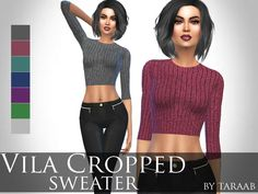 Vila Cropped Sweater by taraab at TSR via Sims 4 Updates Check more at http://sims4updates.net/clothing/vila-cropped-sweater-by-taraab-at-tsr/