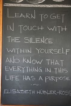 Meditation quote | Learn to get in touch with the silence within yourself,