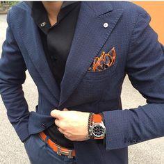 Blue blazer and orange details - #dapper outfit by @mirko1704 [ http://ift.tt/1f8LY65 ]