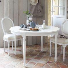 runde esstisch aus holz mit einlegeplatten d 120 cm wei - Runder Kuchentisch Weis