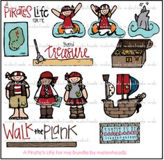 Cute pirate clip art pack from Melonheadz!