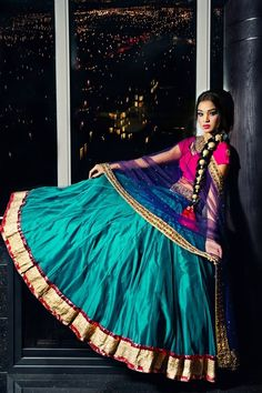 turquoise blue, electric blue & pink #indian #elegance #traditional #saree #lehenga #choli