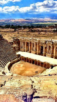 Beautiful ruins of an ancient theatre, Hierapolis, Turkey. Near Pamukkale, Turkey. Places Around The World, Travel Around The World, Around The Worlds, Pamukkale, Ancient Ruins, Ancient History, Beautiful Ruins, Beautiful Places, Places To Travel